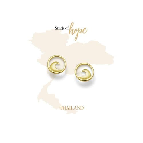 Gold Wave Stud Earrings- Thailand