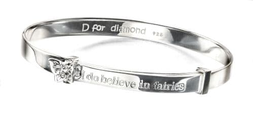 I Believe In Fairies Silver Baby Bangle