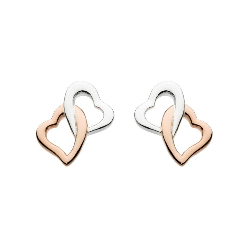 Interlinking Silver Hearts with Rose Gold Plate Stud Earrings