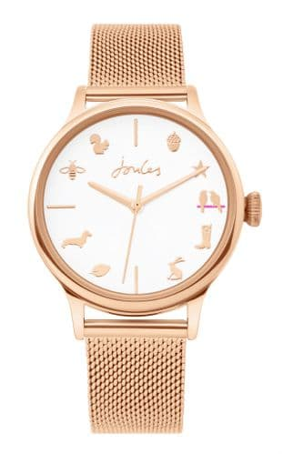 Joules Rose Gold mesh strap Watch