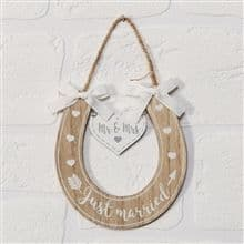 Just Married Horseshoe Plaque
