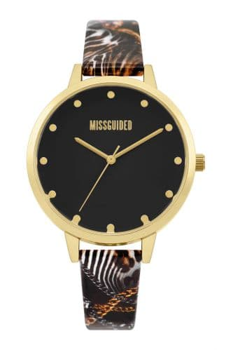 Missguided Multi Printed Strap Watch with Matt Black Dial & Polished Gold Case
