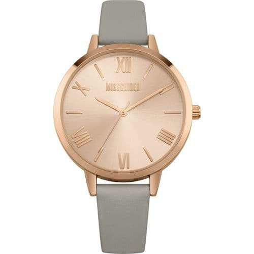 Missguided Padded PU Strap with Grey Satin Dial and Polished Rose Gold Case