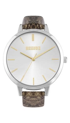Missguided snakeskin strap and silver dial watch