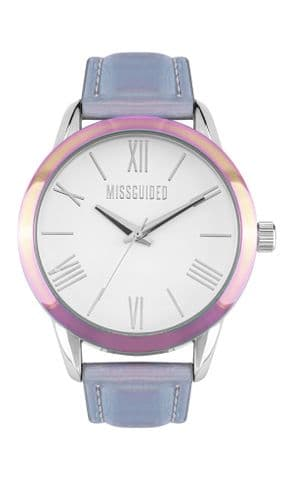 Missguided Watch with Iridescent case and bracelet and satin silver dial