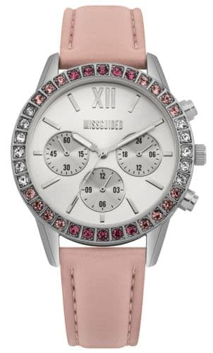 Missguided watch with silver dial, diamante bezel and pink strap
