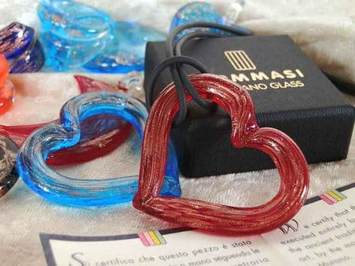 Murano Glass Red Heart Necklace