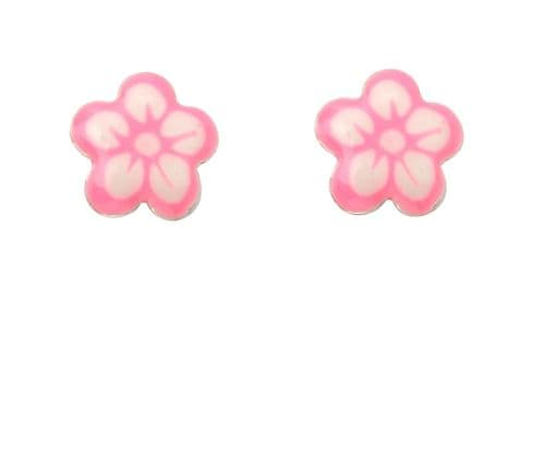 Pink and White Flower Stud Earrings