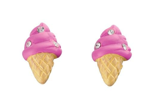 Pink Ice Cream Cone Stud Earrings