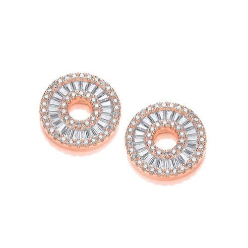 Rose Gold Coated Circle of Life in Baguettes and Round CZ Earrings