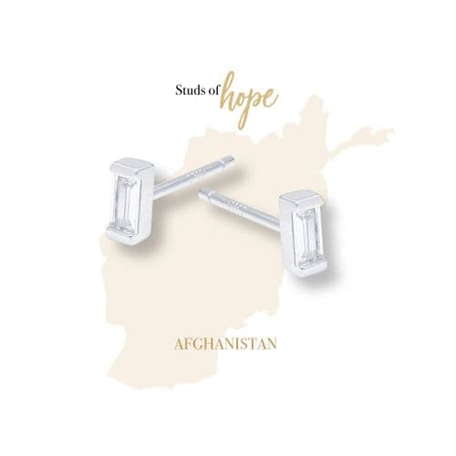 Silver and Cubic Zirconia Studs- Afghanistan