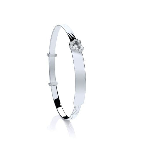 Silver Baby ID with CZ Heart Expandable Bangle