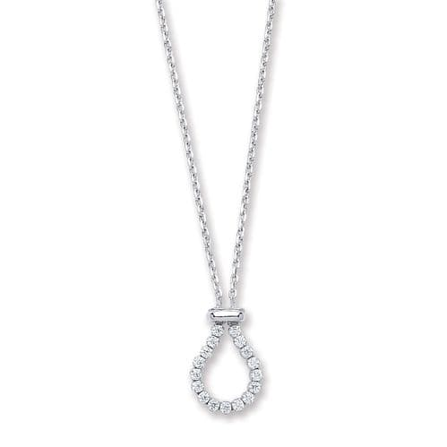 Silver Belcher with Pear CZ Link Chain