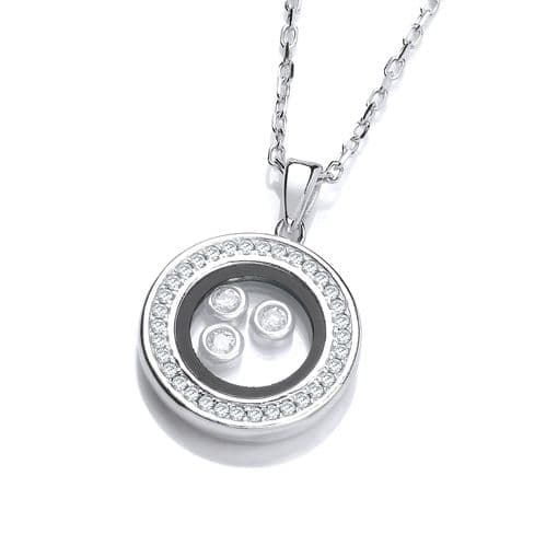 Silver Circle of Life with Floating CZs Necklace
