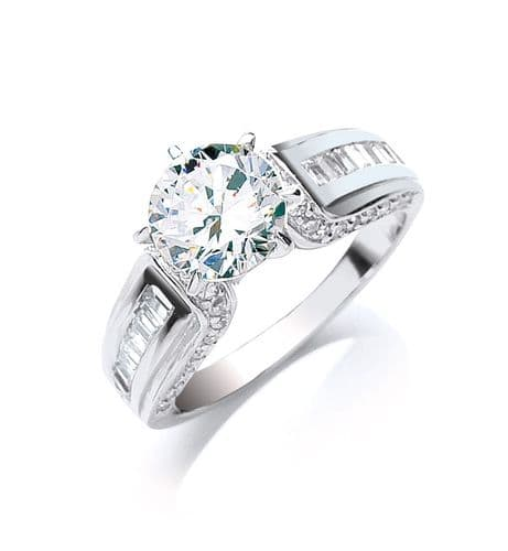 Silver Claw Set CZ Solitaire Baguette Sides Ring