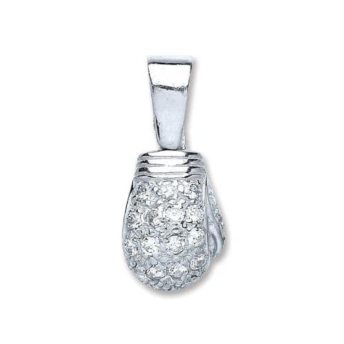 Silver Cz Boxing Glove Drop Pendant