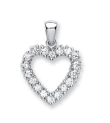 Silver CZ Heart Necklace