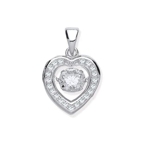 Silver CZ Heart Necklace with Hanging Shimmering CZ