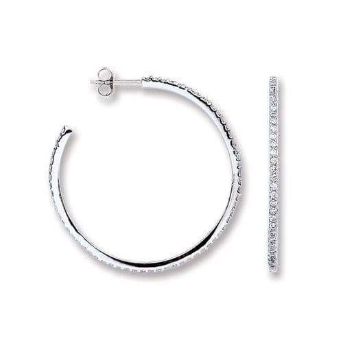 Silver CZ Round Hoop Earrings