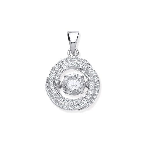 Silver CZ Swirl Necklace with Hanging Shimmering CZ