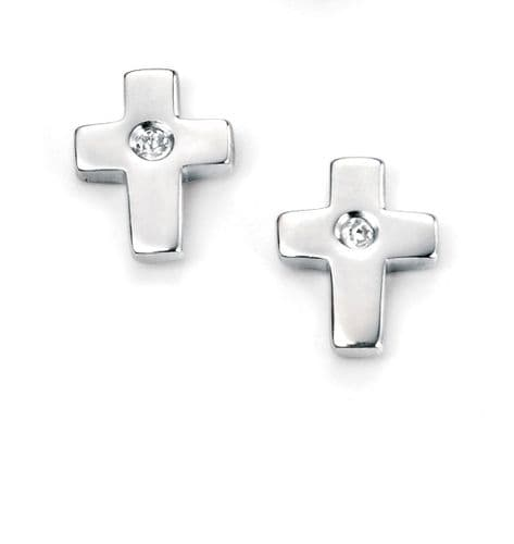 Silver Diamond Cross Earrings
