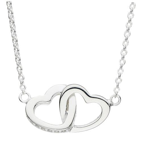 Silver Double Linked Heart Necklace With Cubic Zirconia