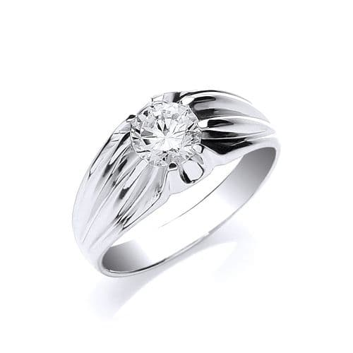 Silver Gents S/S CZ Ring