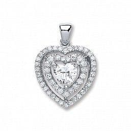 Silver Heart CZ with Two Row of CZ's Necklace