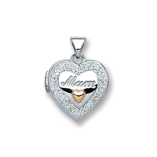 Silver Heart 'Mum' with Crystals Locket Necklace