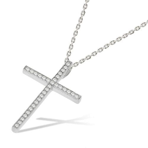 Silver Micro Pave CZ Cross Necklace