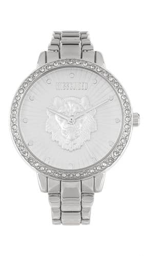 Silver Missguided watch with lion head and Crystals