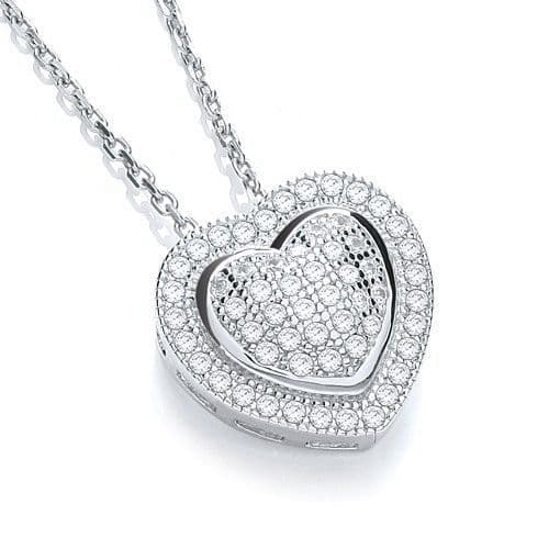 Silver Pave Heart Necklace
