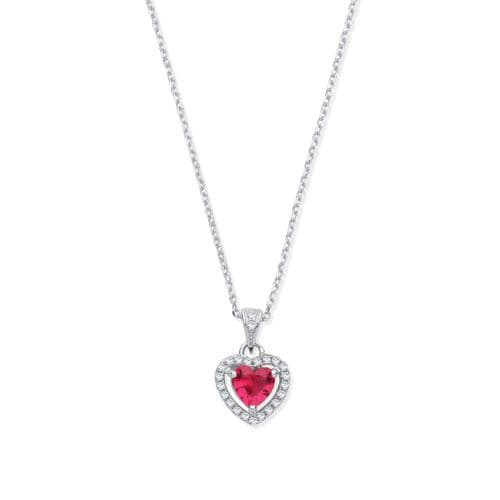Silver Red CZ Halo Heart Pendant Necklace