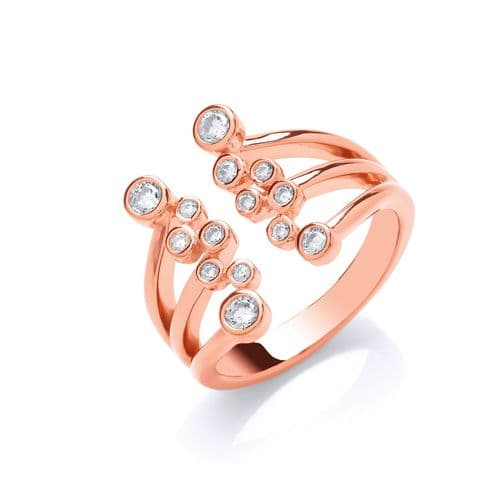 Silver Rose Gold Plated Open Top CZ Ring