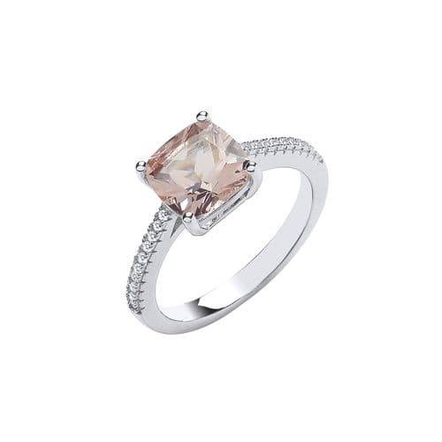 Silver Solitaire Synthetic Morganite & CZ Shoulder Ring
