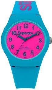 Superdry  Pink Dial Watch with Blue Silicone Strap