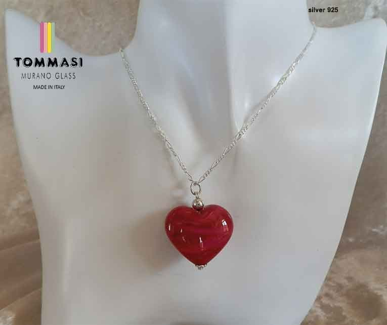 Venetian Murano Glass Red Heart Silver Necklace