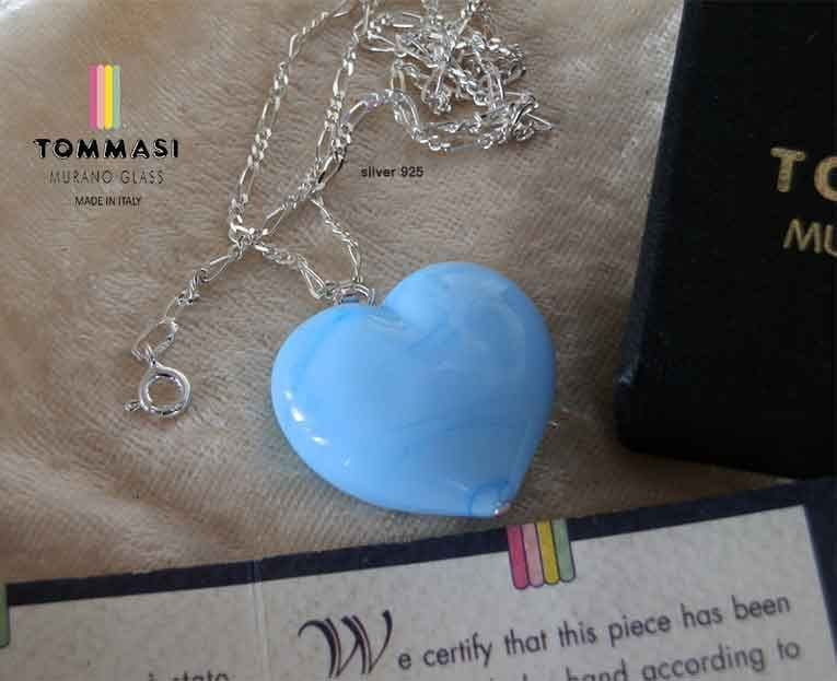 Venetian Murano Glass  Turquoise Heart Silver  Necklace