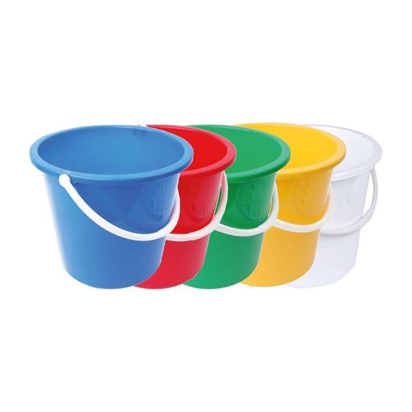 10L Plastic Bucket Available in Blue, Green, Red, White & Yellow
