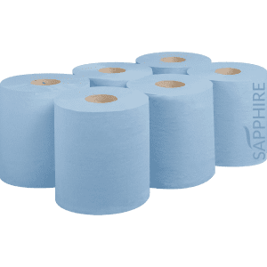 Blue Centre Feed Hand Towels, 1 PLY, 300m, Pack of 6