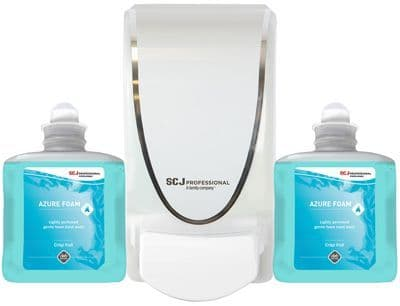 DEB AZU1LSP Azure Washroom Foam Hand Wash Cartridge x2 & Dispenser Starter Pack
