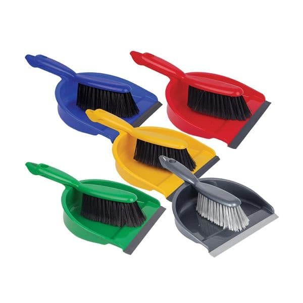 Professional Dustpan & Soft Brush Set Available in Blue, Green, Red & Yellow