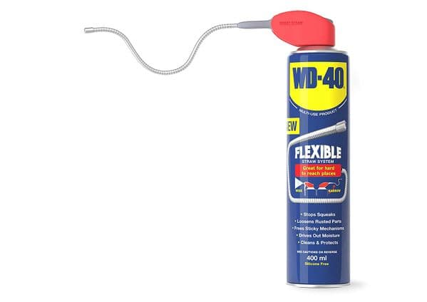 WD-40 Multi-Use Cleaning Lubricant. Cleans Grease, Removes Rust. 400ml With Flexible Metal Straw