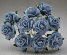 1 cm BABY BLUE Mulberry Paper Roses