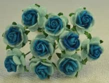 1 cm LIGHT BLUE DEEP TURQUOISE CENTER Mulberry Paper Roses