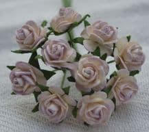 1 cm LIGHT LILAC IVORY Mulberry Paper Roses
