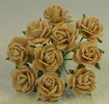 1 cm MOCHA BROWN Mulberry Paper Roses