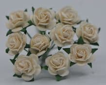 1 cm OFF WHITE Mulberry Paper Roses