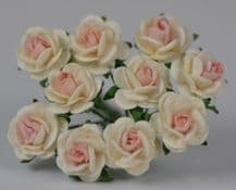 1 cm OFF WHITE with BABY PINK CENTER Mulberry Paper Roses