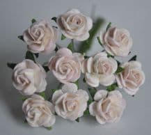 1 cm PALE BABY PINK Mulberry Paper Roses